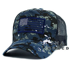 USA American Flag hat Tactical Army Snapback cap Flag Printed on Mesh- Navy Camo