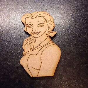 5 X Belle Beauty  And The Beast Laser Cut 3mm Mdf. Size 70mm x 40mm Wooden Blank