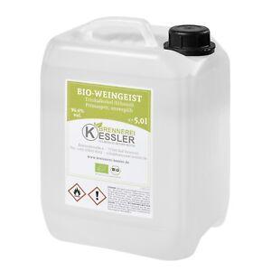 5,0L BIO Weingeist, Primasprit, Alkohol, Ethanol, 96,4%vol. - DE-ÖKO-003