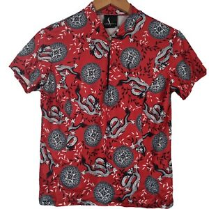 Shebeest Red Chinese Dragon Pattern 1/4 Zip Cycling Jersey - Womens Large