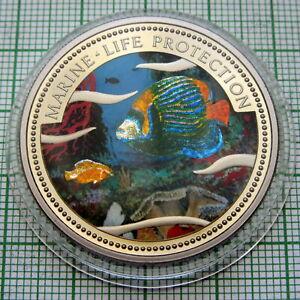 PALAU 2001 1 DOLLAR, MARINE LIFE PROTECTION - Emperor Angelfish, COLOURED