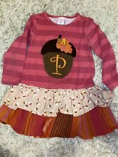 ricrac ruffles Acorn Size 2T Dress Embroidered Letter P