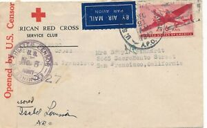 1942 - APO - Red cross cover to Red Cross San Fran. - Censored by Theater Censur