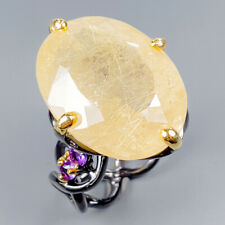 Handmade30ct+ Natural Rutilated Quartz 925 Sterling Silver Ring Size 7.5/R119688