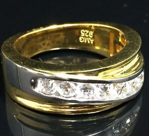 Mens solitaire Channel Set White & Yellow Gold Sterling Silver Wedding Ring Band