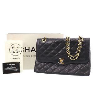 CHANEL Matelasse Double Flap Chain Shoulder Bag Black Leather Authentic #NN463 O