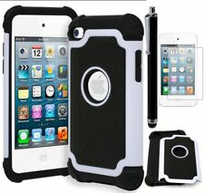 For iPod Touch 4 Shockproof Armor Case • White/Black+Screen Protector+Stylus