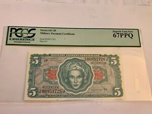 military payment certificate series 641 $5 in Super 67PPQ ( finest known )