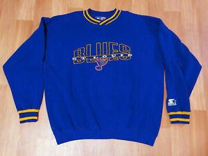 St. Louis Blues Starter Sweatshirt Spellout Sweater NHL Hockey VTG 90s Size XL