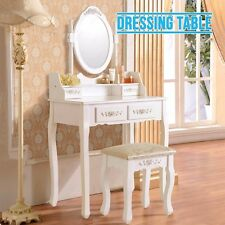 White Dressing Table Vanity Makeup Desk with 4 Drawers,Stool and Mirror Set