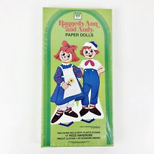 Vintage Sealed 1982 Raggedy Ann and Andy Paper Dolls Kit with 17 Piece Wardrobe