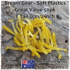 Soft Plastic Fishing Lures Paddle Tail Grub Worm Bait Bream Whiting 50pcs x 50mm