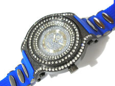 Black Metal Big Case Blue Rubber Band Men's Watch with Crystals