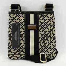 TOMMY HILFIGER AUTHENTIC BLACK/BEIGE TH LOGO SMALL CROSS BODY BAG PURSE NWT