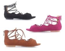 3 Color Casual Lace Up Strape Ankle Back Zip Open Strappy Womens Sandals Shoes