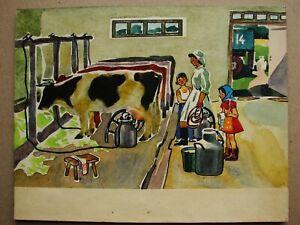 Russian Ukrainian Soviet watercolor Painting children cow milk collective farm
