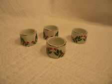 Vintage Holly Napkin Rings Set of 4, Hand Painted, Made in Japan, trim is Gold