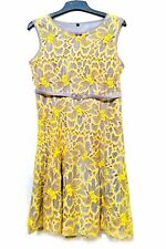 Gray and yellow floral lace guipure sleeveless dress