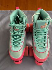 Womans/Girls Kandy Luscious Roller Skates Size 4 Aqua Turquoise And Hot Pink