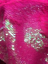 Sequins Fabric 2 Way Stretch Shiny Reversible mermaid Fuchsia  By The Yard