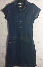 Tommy Hilfiger Tommy Jeans Denim Dress Women Small Medium Blue Knee-Length