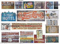 LARGE SHEET HO SCALE WEATHERED BUILDING SIGN DECALS #11