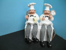 2 pc Italian FAT Chef figurine shelf sitter set BISTRO DECOR home Bar