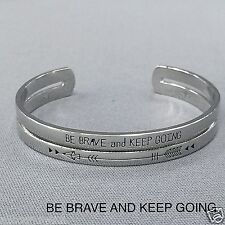 Silver Be Brave And Keep Going Message Engraving Open Cuff Bangle Bracelet
