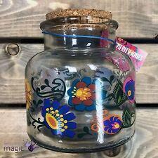 Temerity Jones Retro 70s Hippy Floral Patterned Glass Storage Jar with Cork Lid