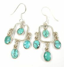 TURQUOISE GEMSTONE 925 STERLING SILVER EARRINGS STAMPED 3 g