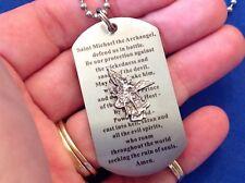 Rare Archangel St MICHAEL Defender Prayer NECKLACE Stainless Dog Tag Saint Medal
