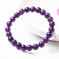 8mm Genuine Natural Purple Amethyst Crystal Round Gemstone Beads Bracelet New