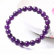 8mm Genuine Natural Purple Amethyst Crystal Round Gemstone Beads Bracelet New