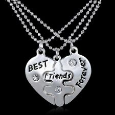 BFF Best Friends Forever 3 Part Love Heart Pendent Necklaces word Heart Crystal