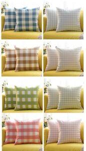 100% Cotton Check Cushion Cover Assorted Colors 43cm x 43cm