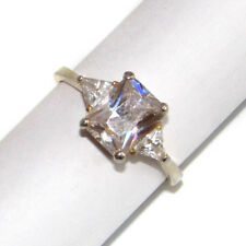 3 Stone CZ Gold Washed Sterling Silver Ring sz 9.25 Fake Wedding Ring Bling Ring
