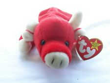RARE 1995 Snort TY Beanie Baby Red Bull w/ Multiple Errors 5 - 15 - 95 4002 Tag