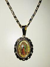 Cadena y medalla imagen cuerpo completo la Virgen de Guadalupe oro laminado 14k