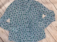Boden Floral Button Down Shirt Green Blue Polyester Women's Size 6