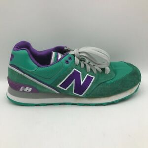 New Balance Mens 574 Sneakers Shoes Green ML574SBW Leather Lace Up Low Top 9.5 D