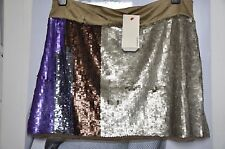 "CELEB PARTY MINI SKIRT ""PINKO"" ,multicolored SEQUIN ,LIGHT OLIVE,PURPLE,BROWN  M"