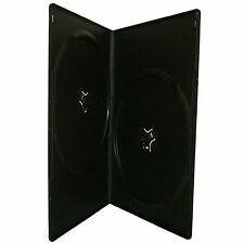 25 X Double Slimline DVD Case Black 7mm Spine With Clear Front Cover Sleeve