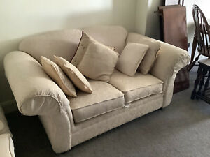 KIRKDALE PAIR OF 2 SEATER SOFAS IN CREAM - USED IN VGC