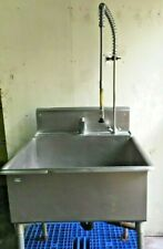 Large One Compartment Stainless Steel Commercial Sink 31 With Pre Rinse Faucet