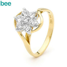Simulated Diamond 9k 9ct Solid Yellow Gold Cluster Ring Size P 7.75 22003