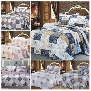 Quilted Printed Patchwork Bedspread Comforter Set Double King Bed