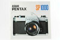 Bedienungsanleitung Asahi Pentax SP 1000 SP-1000 SP1000 Anleitung