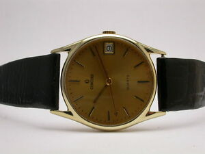 CONCORD 14K YELLOW GOLD CLASSIC GOLD DIAL WITH DATE QUARTZ MENS WRISTWATCH