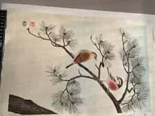 "Japanese Woodblock ""Benimashiko Long-tailed rosefinch"" Uchida, Shizuo Ashikaga"