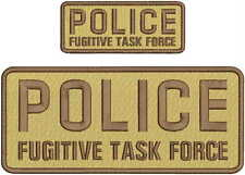 POLICE FUGITIVE TASK FORCE EMBROIDERY PATCH 4X10 & 2X5 HOOK ON BACK TAN/BROWN